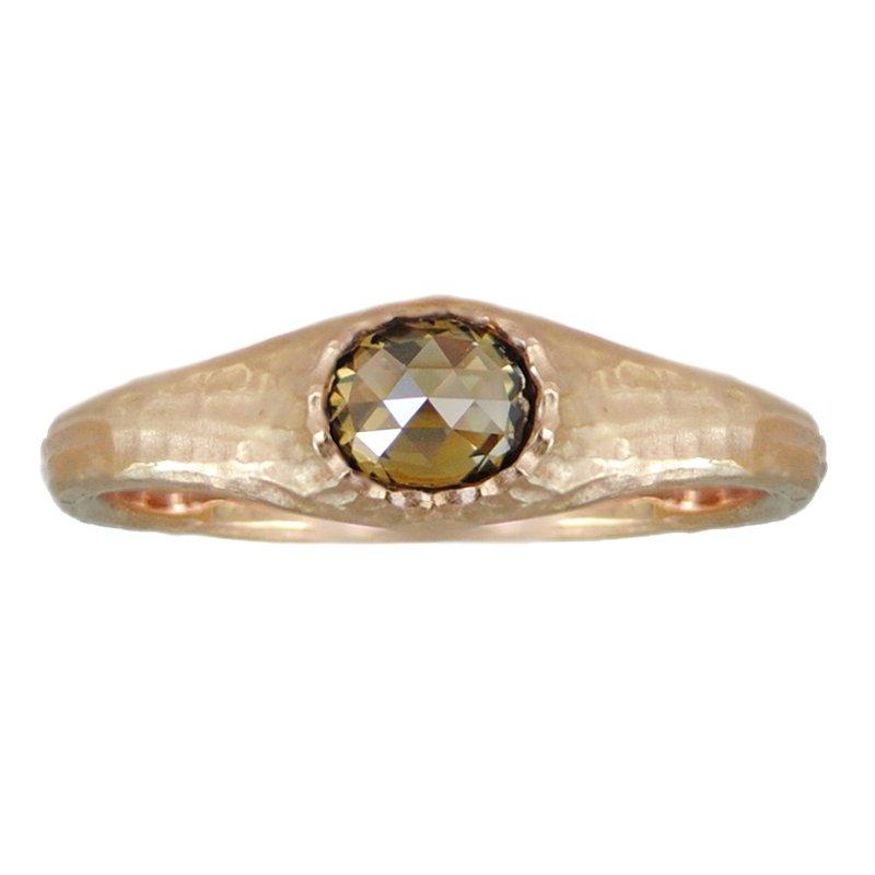 Michael Endlich Designs 18K Rose Gold Green Diamond (0.39ct) Ring