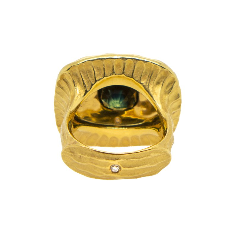Michael Endlich Designs Green Sapphire (6.22ct) Ring with Textured Halo in 22K Yellow Gold