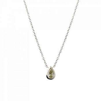 White Gold and Pear-Shaped Yellow Diamond (0.30ct) Necklace