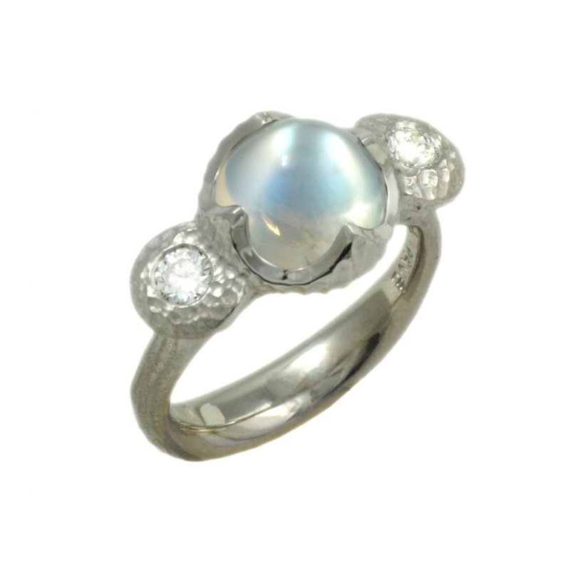 Michael Endlich Designs Round Moonstone (3.58ct) Ring Flanked with Diamonds in Platinum