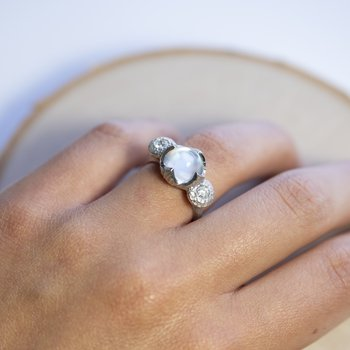 Round Moonstone (3.58ct) Ring Flanked with Diamonds in Platinum