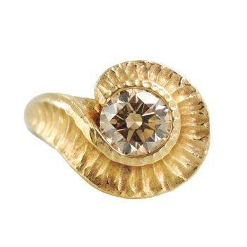 Champagne Diamond (1.60ct) Ring in 18K Gold, Fibonacci-inspired