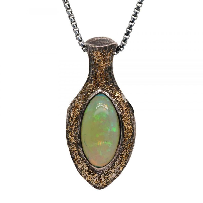 Michael Endlich Designs Opal (11.35ct) Pendant Necklace with Gold Dust