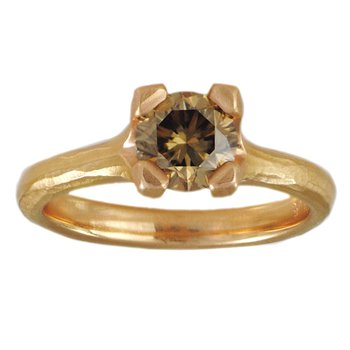 Cognac Diamond (1.07ct) Ring in Textured 18K Gold
