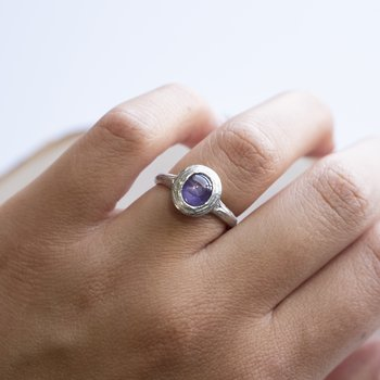 Lavender Star Sapphire Ring in Platinum