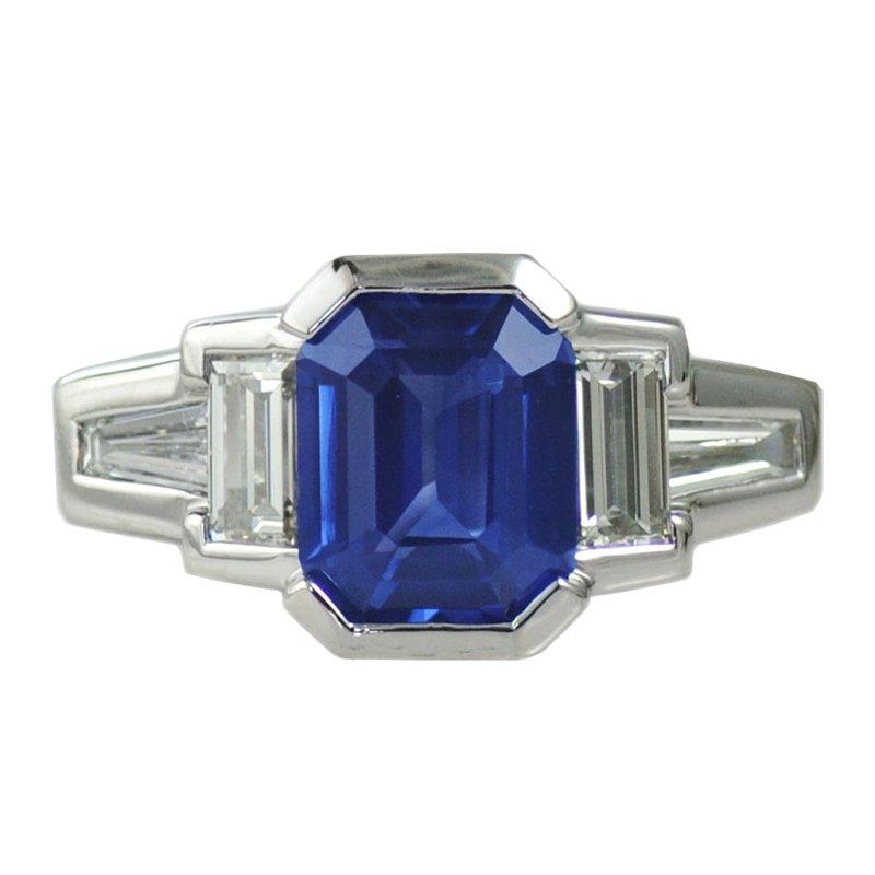 Michael Endlich Designs Blue Sapphire (2.24ct) and Diamond Ring in Platinum