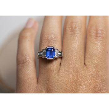 Blue Sapphire (2.24ct) and Diamond Ring in Platinum