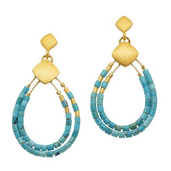 """Clini"" Earrings with Turquoise Beads"