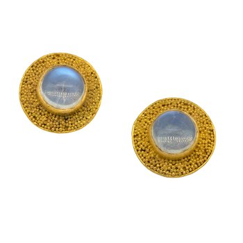 Moonstone Studs in Gold