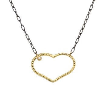 Gold Heart Pendant on Oxidized Silver Link Chain