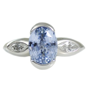 Powder Blue Sapphire (3.33ct) Ring with Diamond Accents in Platinum
