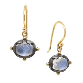 Moonstone Earrings in Oxidized Silver and Gold