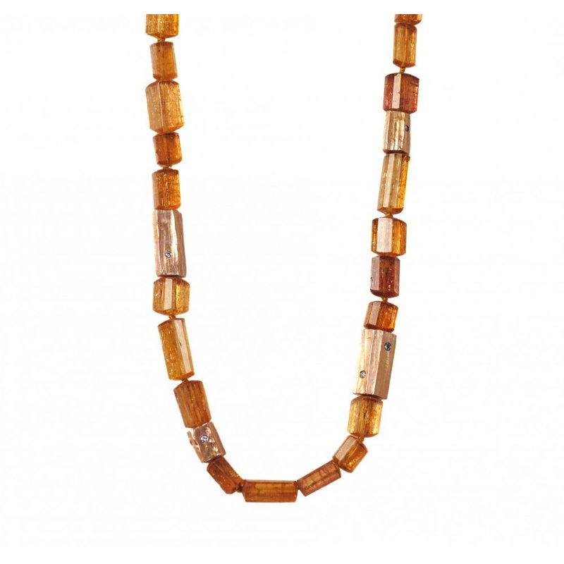 Michael Endlich Designs Imperial Topaz Necklace with 18K Rose Gold and Diamond Accents (18 inches)