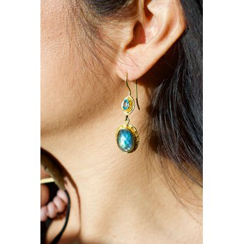 Zircon and Labradorite Earrings in 18K Gold