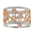 Extended Collection 18K White and Rose Gold Band with Floral Negative Space