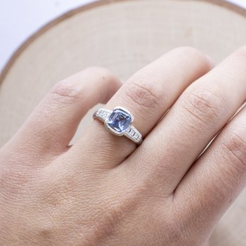 Sapphire (1.80ct) Ring with Diamond Accents in Platinum