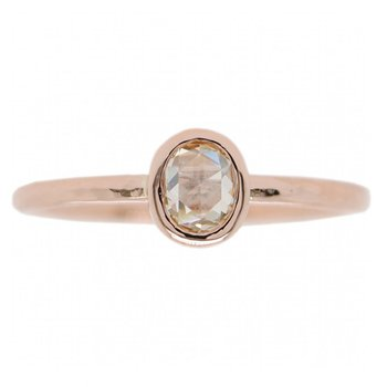 Rose Gold and Oval Yellow Diamond Solitaire Ring