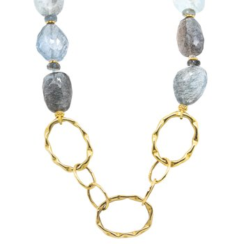 Copper Aquamarine Pebbles Necklace with 18K Gold