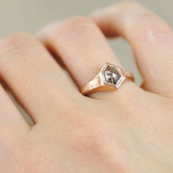 Kite Shaped Rustic Diamond Ring in 18K Rose Gold