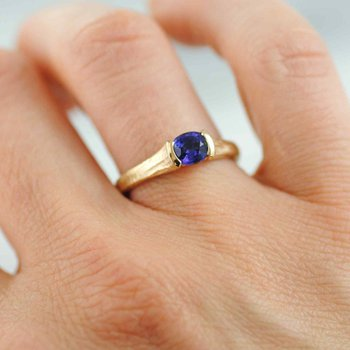 Indigo Sapphire (0.82ct) Ring with Diamond Accents in 18K Gold