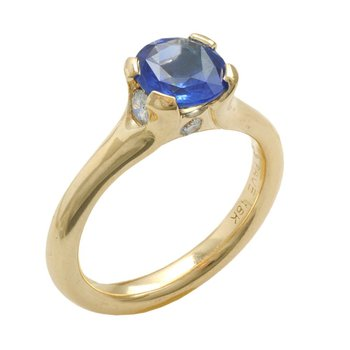 Blue Sapphire (1.82ct) with Diamond Accents in 18K Gold
