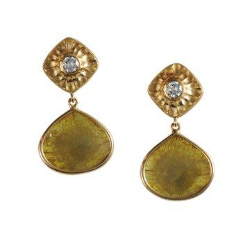 Diamond Slice & Diamond Suspended Earrings in 18K Yellow Gold