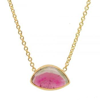 Watermelon Tourmaline Slice Necklace in 18K Gold