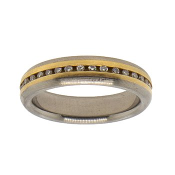 Titanium and 18K Gold Eternity Band