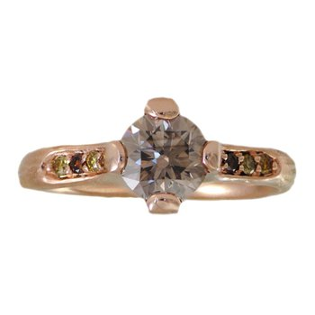 Champagne Diamond (0.99ct) Ring with Autumnal Diamond Accents in 18K Rose Gold