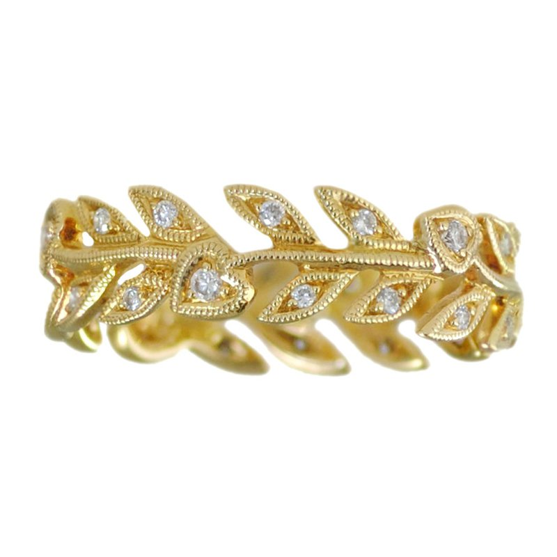 Extended Collection Leaves & Hearts Eternity Band in 18K Yellow Gold
