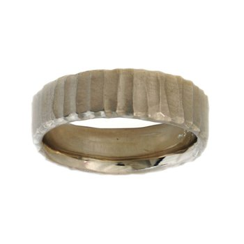 14K White Gold Band (6.5mm) with Vertical Texture