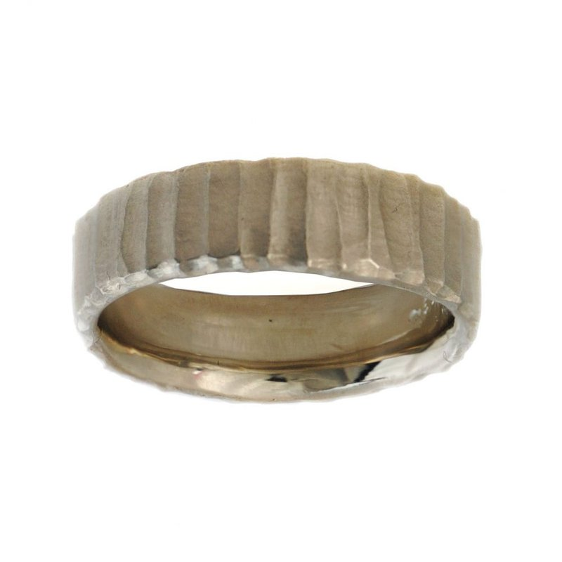 Michael Endlich Designs 14K White Gold Band (6.5mm) with Vertical Texture