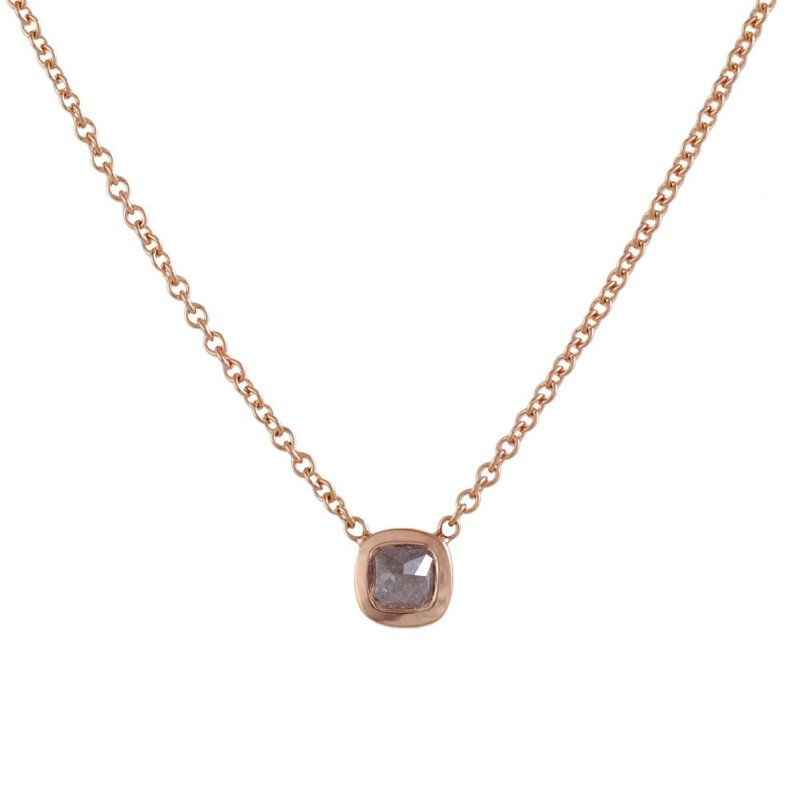 Pavé Fine Jewelry 18K Rose Gold Cushion Shaped Colored Diamond (0.56ct) Necklace