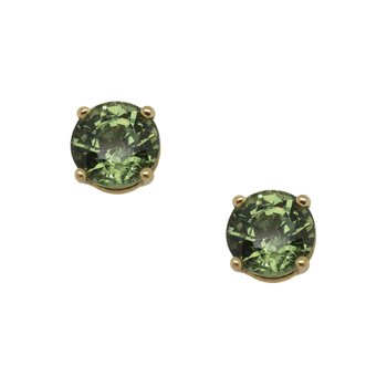 Green Sapphire (1.90ctw) Stud Earrings in 18K Gold