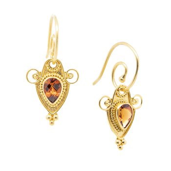 Orange Garnet Earrings in 18K Gold