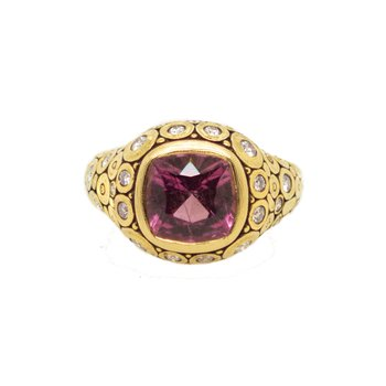 "Tourmaline (4.40ct) ""Lilly"" Cushion Ring with 27 Diamonds in 18K Gold"
