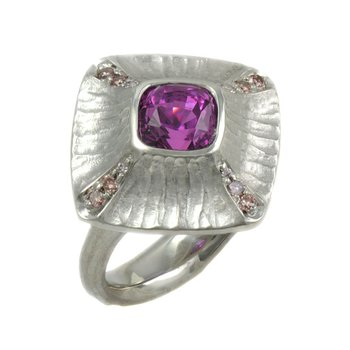Pink Sapphire (3.07ct) with Diamond Accents and Platinum Redwood Bark Texture