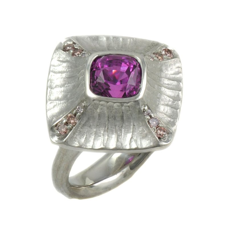 Michael Endlich Designs Pink Sapphire (3.07ct) with Diamond Accents and Platinum Redwood Bark Texture