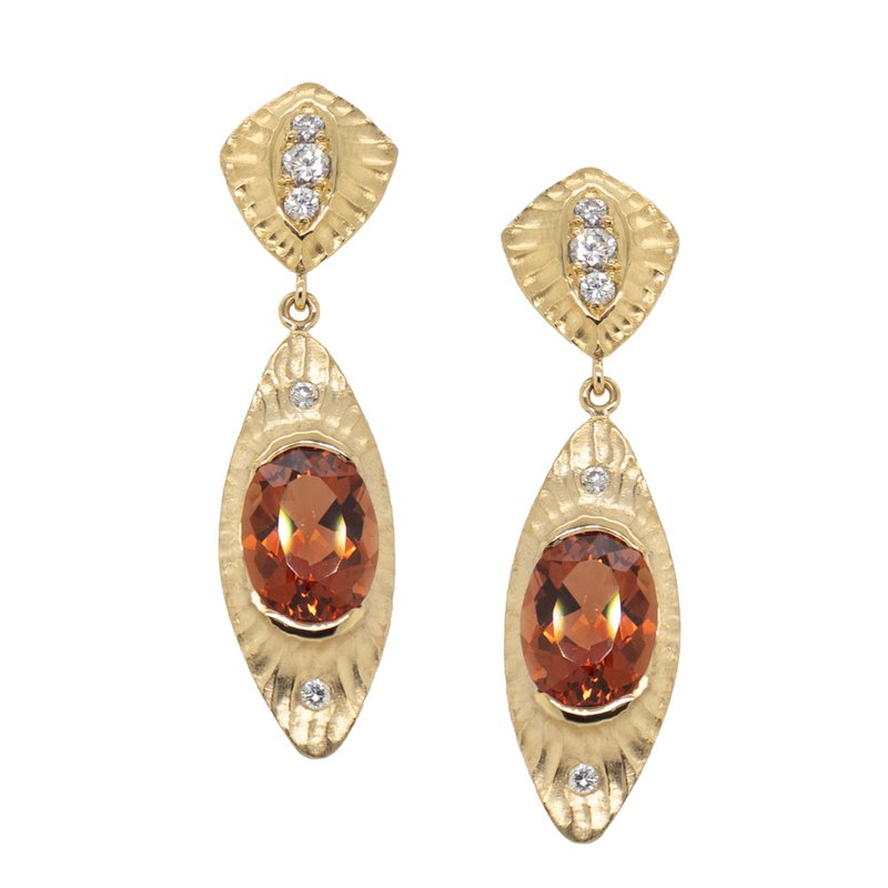 Michael Endlich Designs Sunstone and Diamond Earrings Suspended in 18K Gold