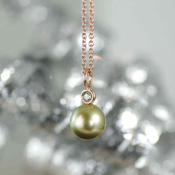 Pistachio Colored Tahitian Pearl with Diamond Accent Rose Gold Necklace