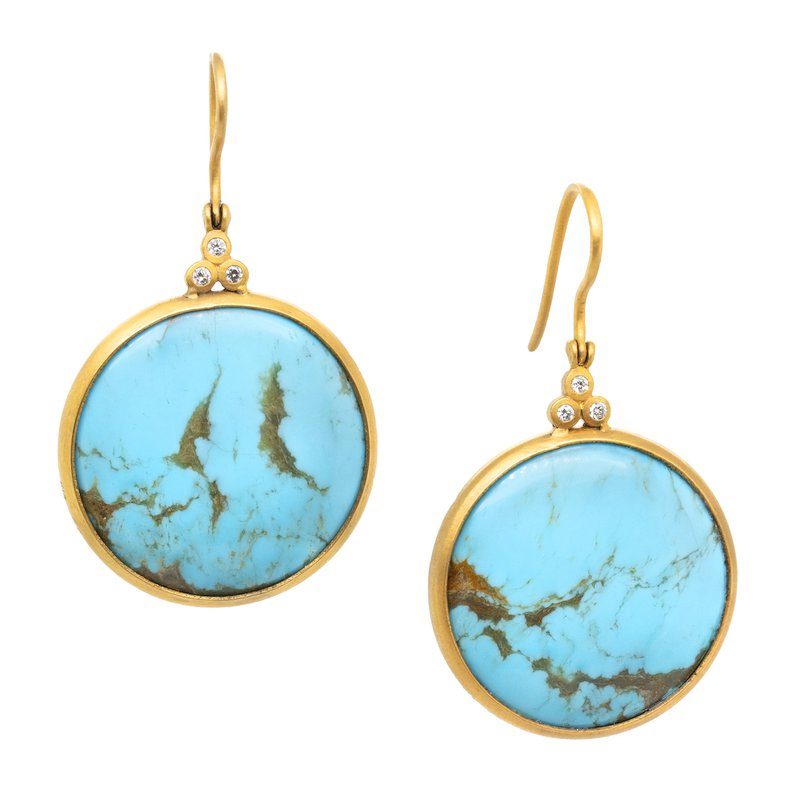 Extended Collection Turquoise and Diamond Gold Earrings