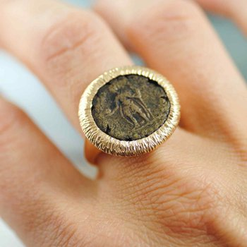 Ancient Coin Ring in 18K Rose Gold