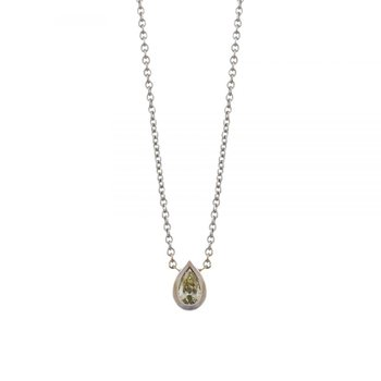 White Gold and Pear-Shaped Yellow Diamond (0.23ct) Necklace