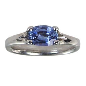 Ceylon Blue Sapphire (0.87ct) Ring in Platinum