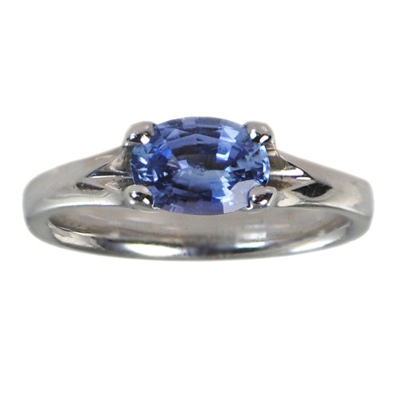 Pavé Fine Jewelry Ceylon Blue Sapphire (0.87ct) Ring in Platinum