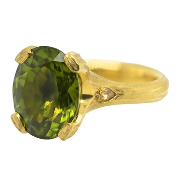 Peridot (10.58ct) Ring with Diamond Accents in 22K Yellow Gold