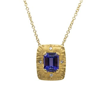 Tanzanite (5.86ct) Necklace with Diamond Accents in 22K Gold