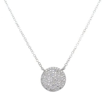Pavé Circle Pendant Necklace in White Gold
