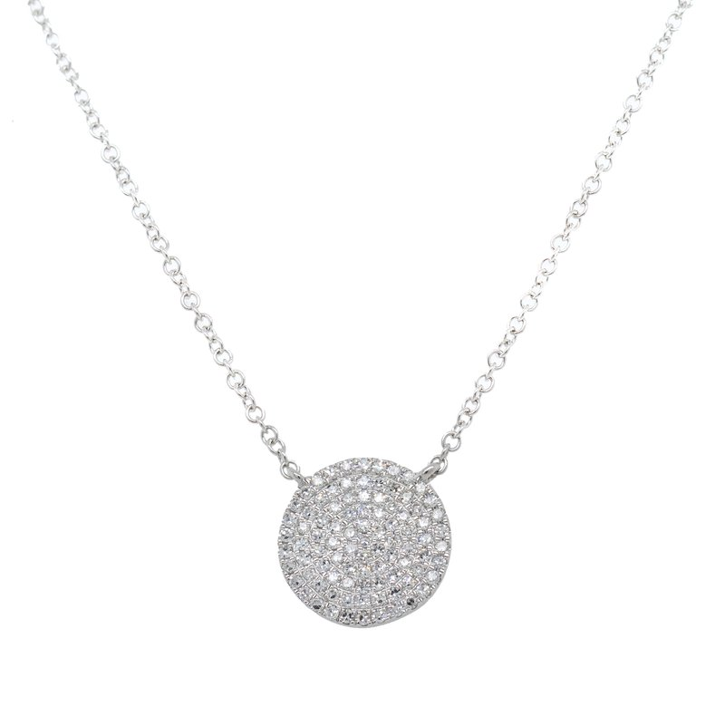 Extended Collection Pavé Circle Pendant Necklace in White Gold