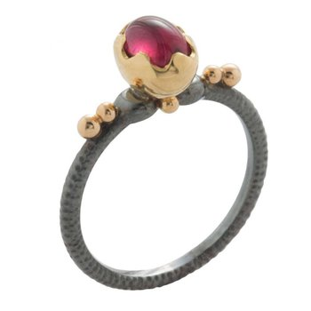"""Ripple in the Well"" Ring with a Garnet in Oxidized Silver and 18K Gold"